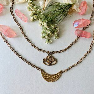 Jewelry - handcrafted golden moon and lotus necklace stack🌸
